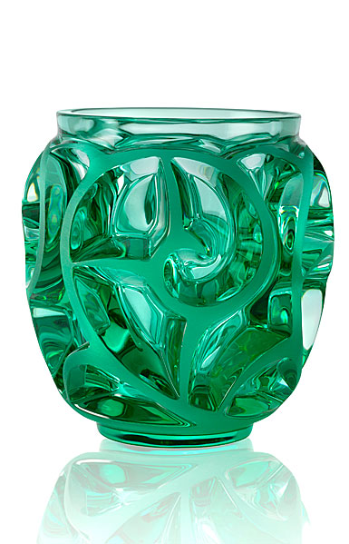 Lalique Tourbillons Small Vase, Green Mint