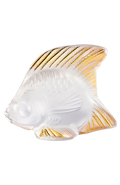 Lalique Fish Sculpture, Clear and Gold Stamped