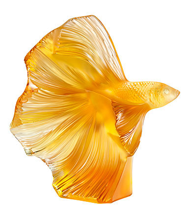 "Lalique Fighting Fish 10.5"" Sculpture, Amber"