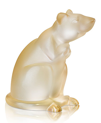 Lalique Rat Sculpture, Gold Luster