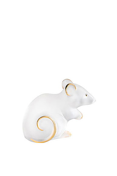 Lalique Mouse Sculpture Large, Clear and Gold Stamped