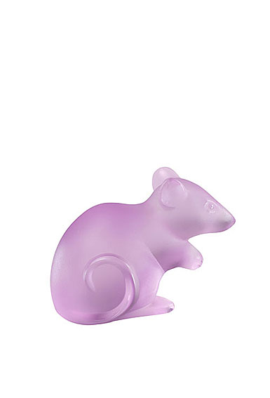 Lalique Mouse Sculpture Large, PInk, Limited Edition of 88