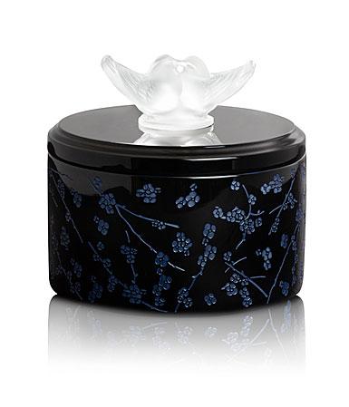 Lalique Fleurs De Cerisiers Lacquer Wood Box, Medium Size