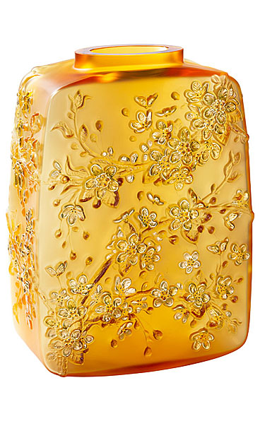 Lalique Fleurs De Cerisiers Amber Gold Stamped Vase, Limited Edition Of 88 Pieces