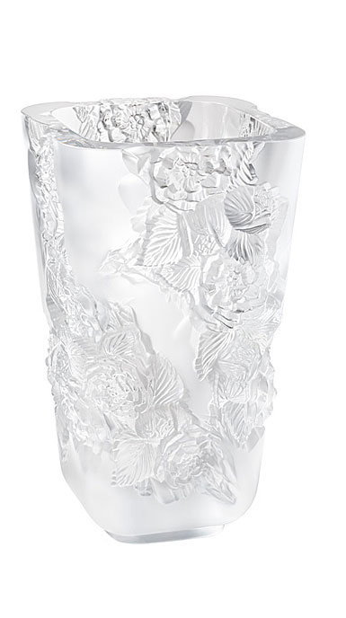 Lalique Large Pivoines Clear Vase
