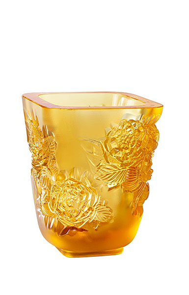 "Lalique Small Pivoines Amber 5.5"" Vase"