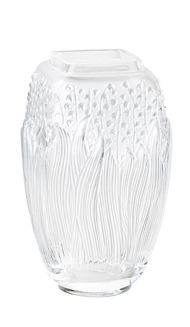 "Lalique Muguet 11.5"" Vase, Clear"