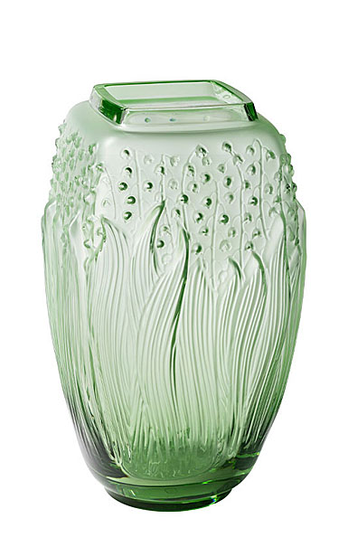 """Lalique Muguet 11.5"""" Vase, Green"""