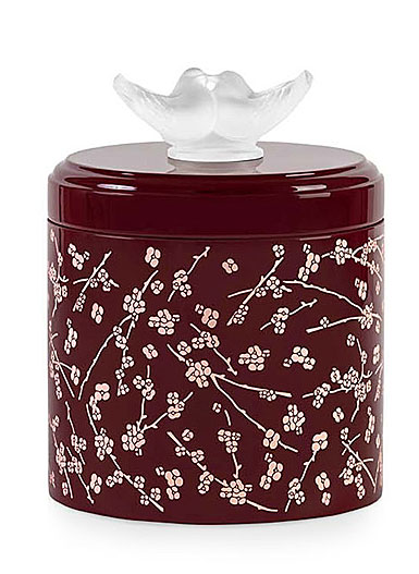 """Lalique Fleurs de Cerisiers Lacquered Pink and Burgundy 6"""" Tall Wood Box"""