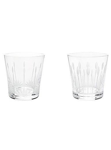 Lalique Lotus Tumbler Mixed Pair, Buds and Blossoms