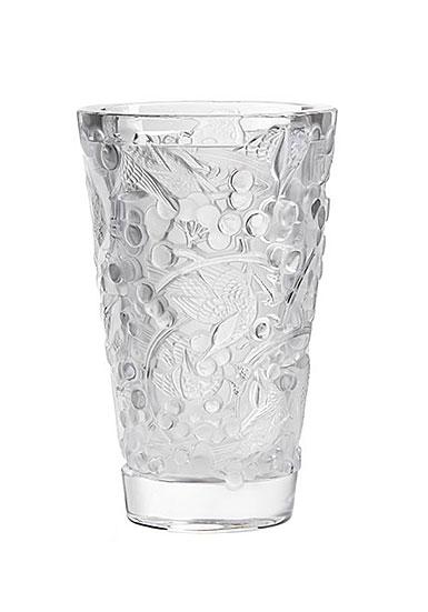 """Lalique Merles et Raisins Medium 8.75"""" Vase"""