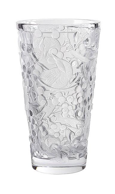 """Lalique Merles et Raisins Large 15"""" Vase, Clear"""