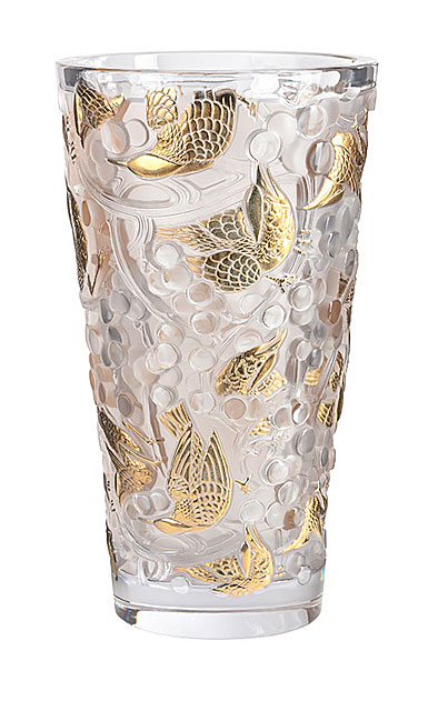 "Lalique Merles et Raisins Large 15"" Vase, Gold Stamped Limited Edition"
