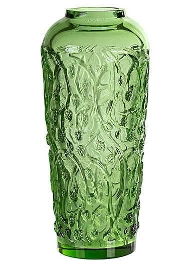 """Lalique Mures Large 20"""" Vase, Green, Limited Edition"""