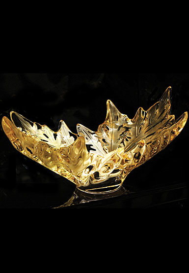 Lalique Crystal, Champs-Elysees Gold Luster Crystal Bowl