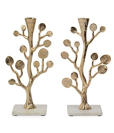 Michael Aram Botanical Leaf Gold Candleholders Pair