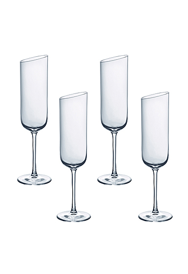 Villeroy and Boch NewMoon Glass Flute Champagne Set of 4