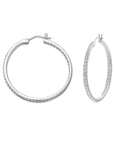 Swarovski Somerset Hoop Pierced Earrings, Medium, Rhodium
