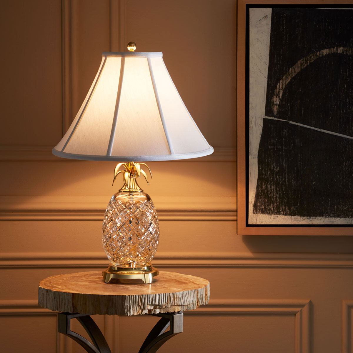 """Waterford Crystal, Hospitality Pineapple 25"""" Crystal Lamp"""