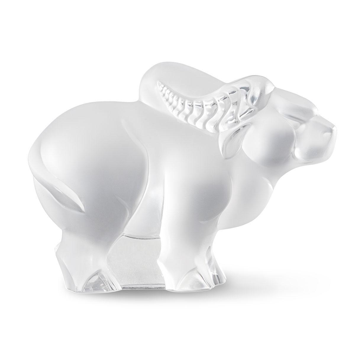 Lalique Zodiac Ox Sculpture, Clear