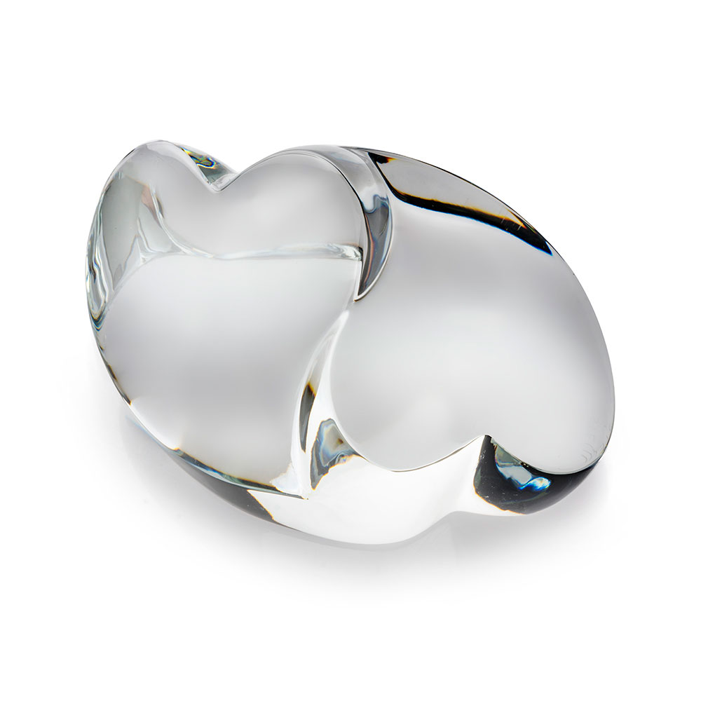 Steuben Hearts Embrace Paperweight