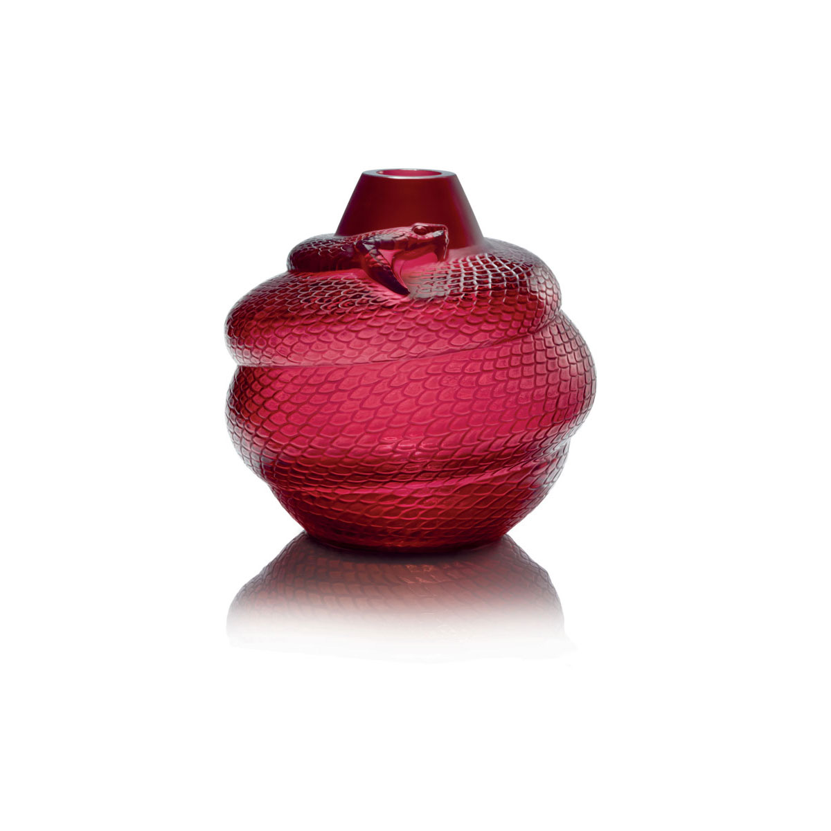 "Lalique Crystal, Red Serpent 9"" Crystal Vase"