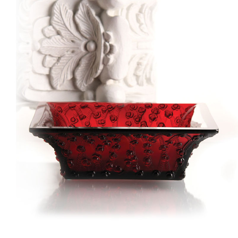 Lalique Crystal, Crystal Rose Bowl, Red