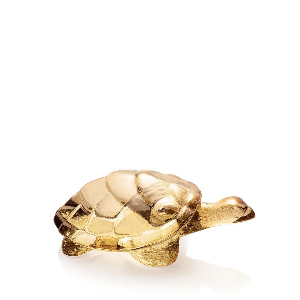 Lalique Crystal, Gold Lustre Caroline Turtle