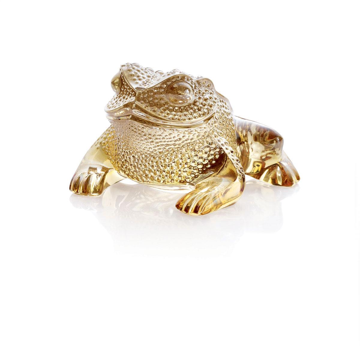 Lalique Crystal, Gregoire Frog Sculpture, Gold Lustre