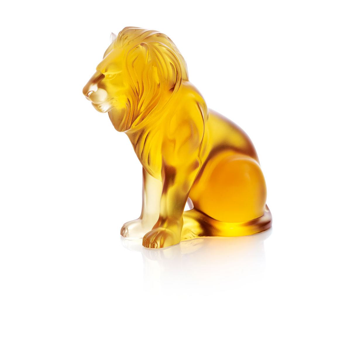 Lalique Crystal, Amber Bamara Lion Sculpture