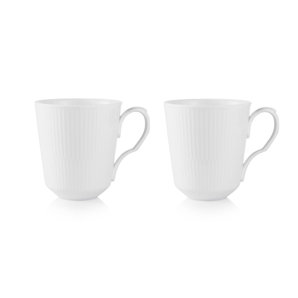 Royal Copenhagen, White Fluted Mug 12.25oz. Pair
