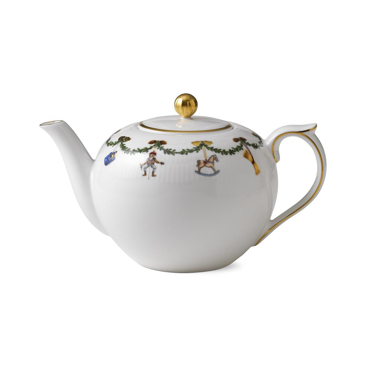 Royal Copenhagen, Star Fluted Christmas Tea Pot 1.5Qt