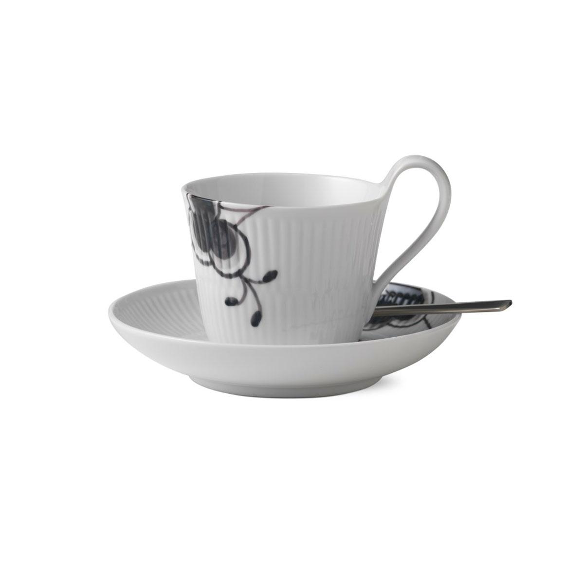 Royal Copenhagen, Black Fluted Mega High Handle Cup and Saucer