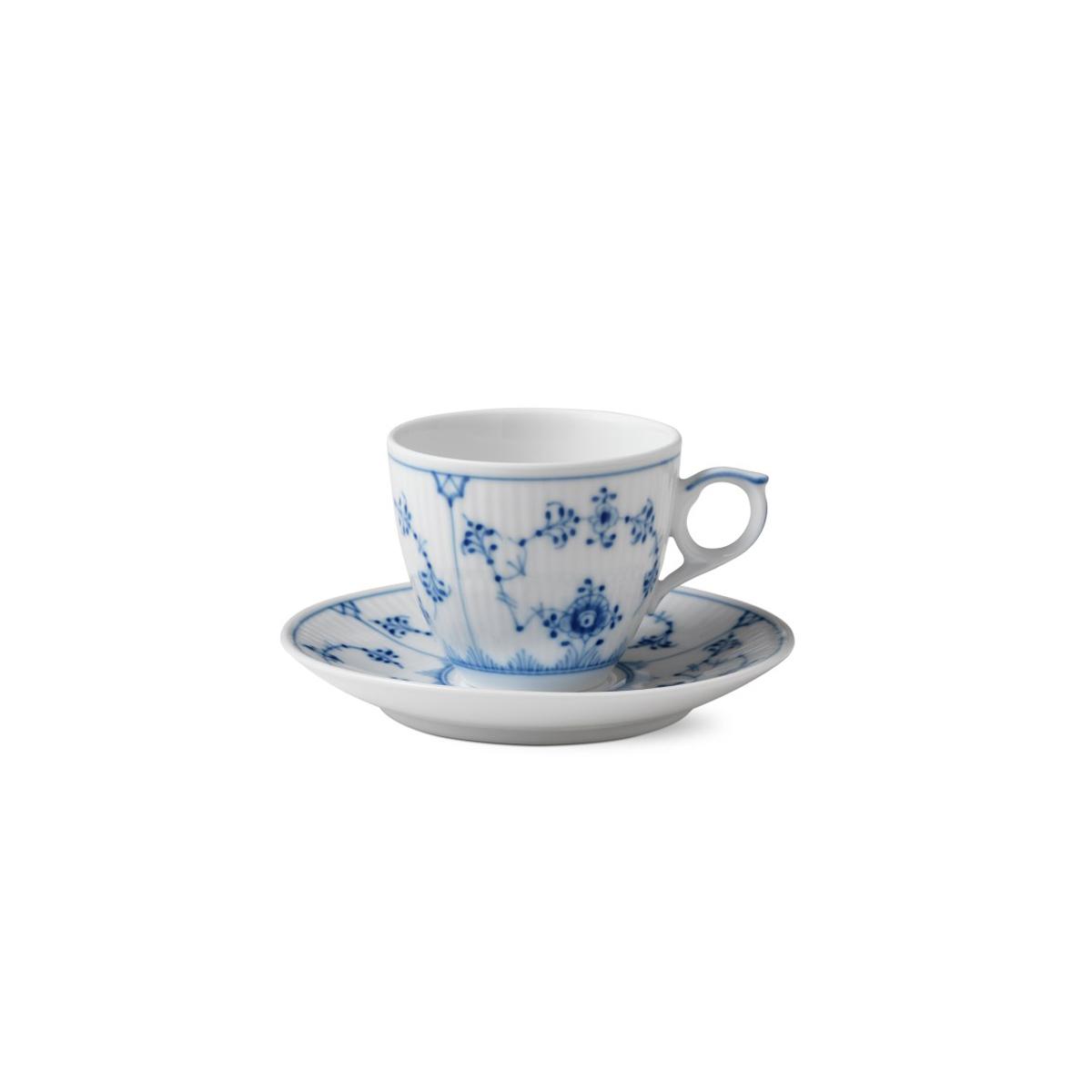 Royal Copenhagen, Blue Fluted Plain Espresso Cup and Saucer Set