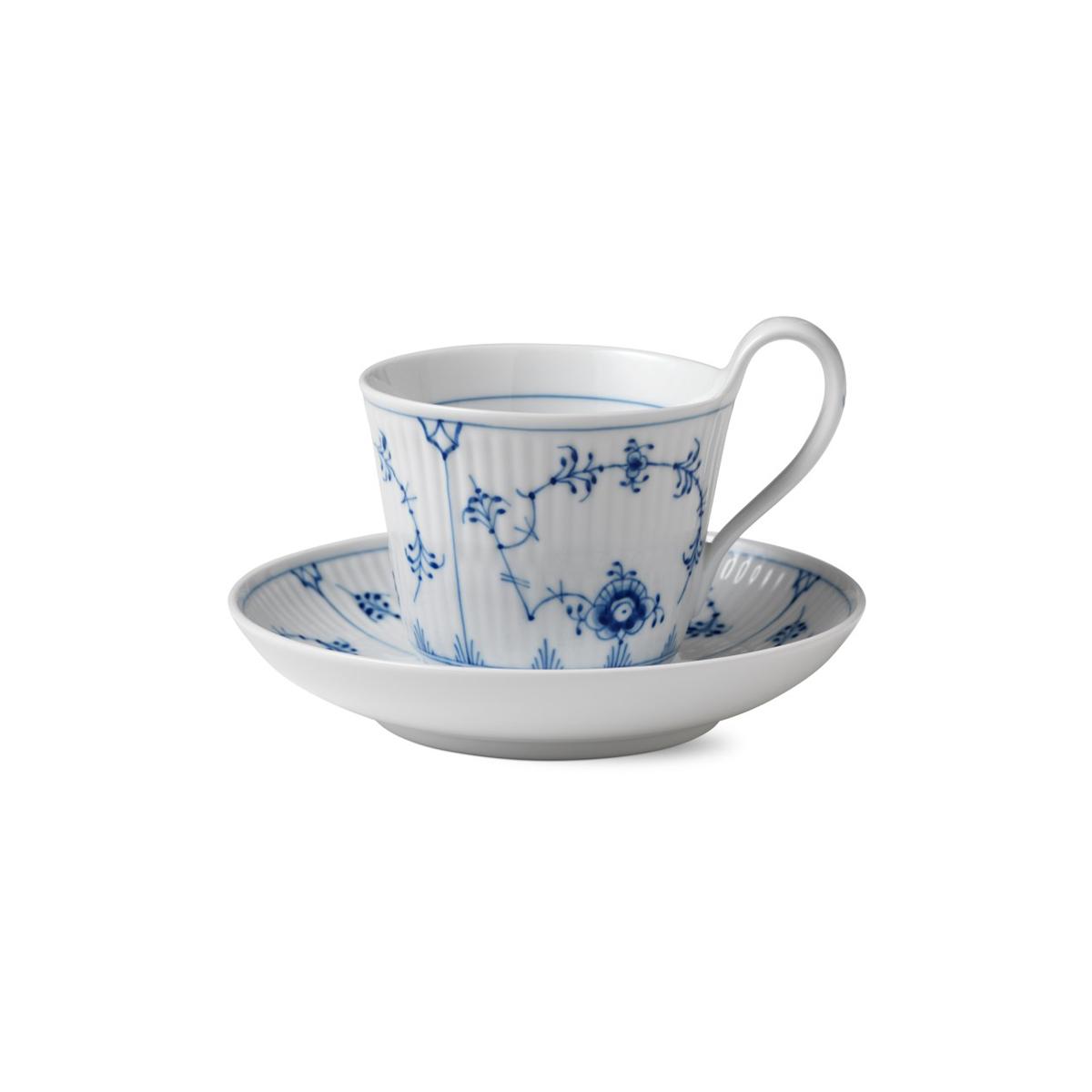 Royal Copenhagen, Blue Fluted Plain High Handle Cup and Saucer 8.5oz.