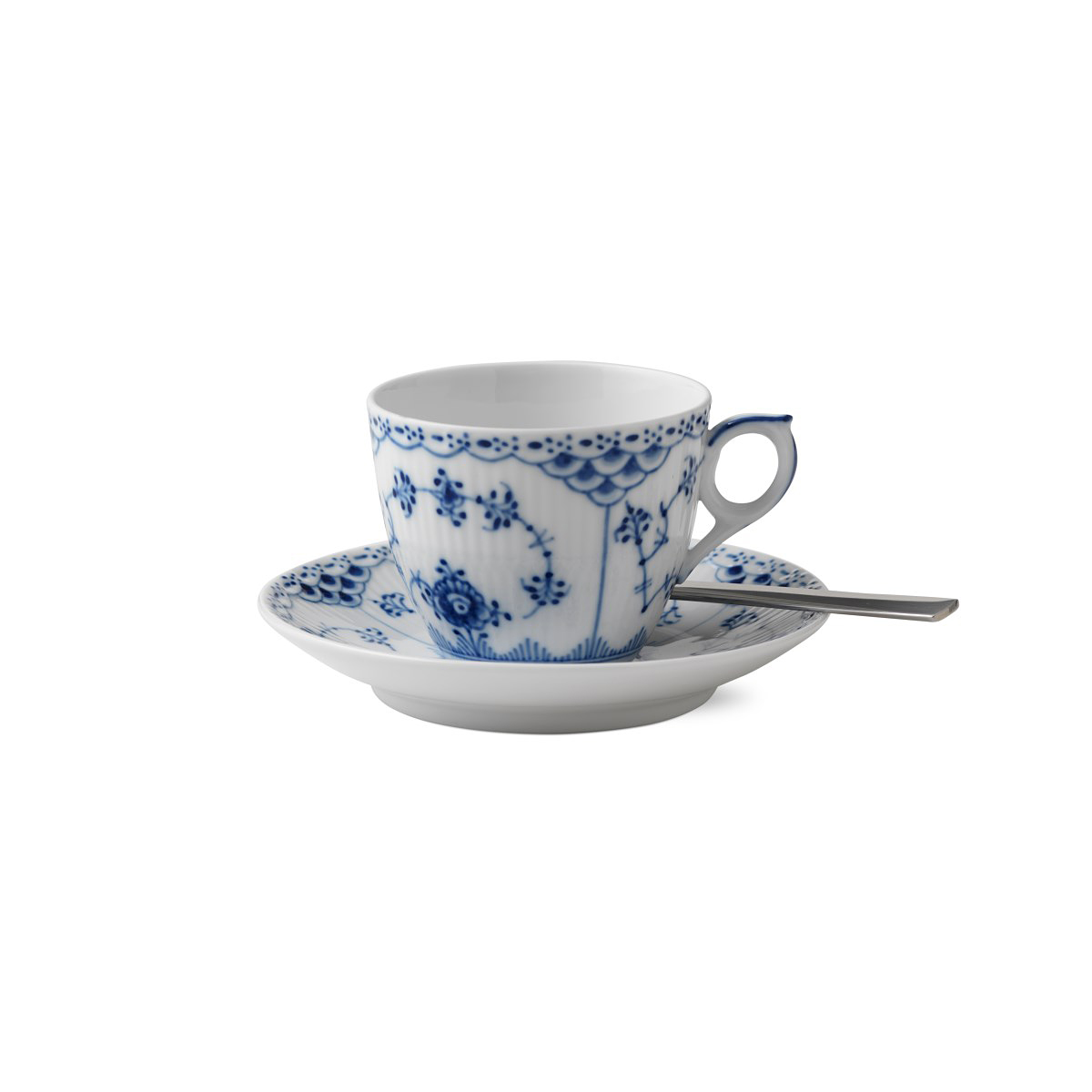 Royal Copenhagen, Blue Fluted Half Lace Coffee Cup and Saucer 5.75oz.