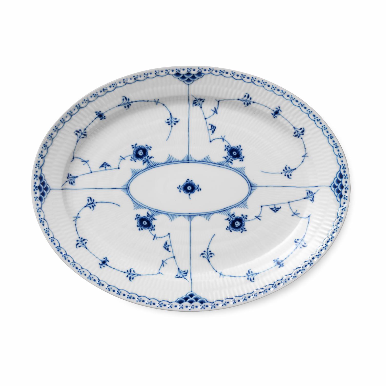 "Royal Copenhagen, Blue Fluted Half Lace Oval Platter Large 14.25"""