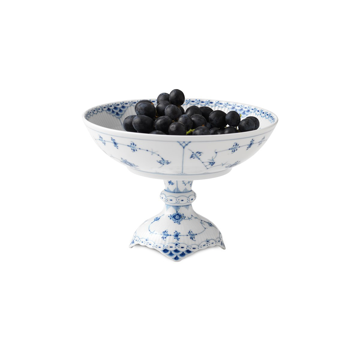 """Royal Copenhagen, Blue Fluted Half Lace Footed Compote 8.25"""""""