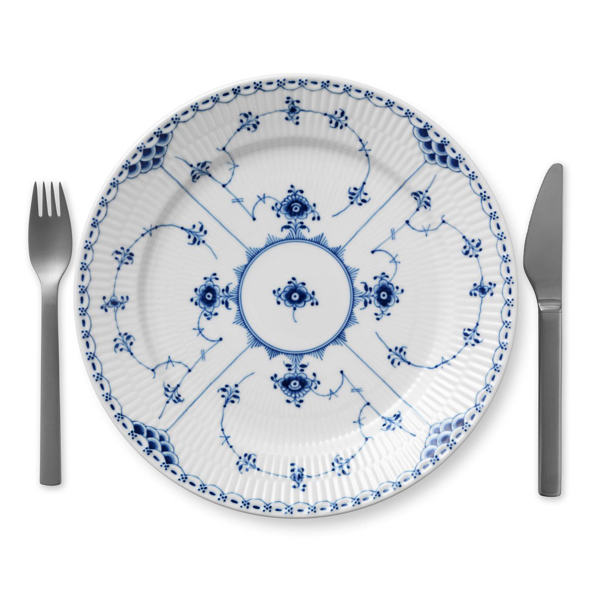 "Royal Copenhagen, Blue Fluted Half Lace Dinner Plate 10.75"""