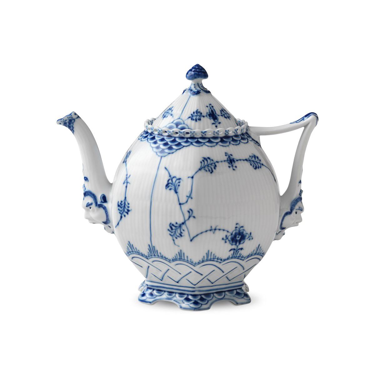 Royal Copenhagen, Blue Fluted Full Lace Tea Pot 1Qt
