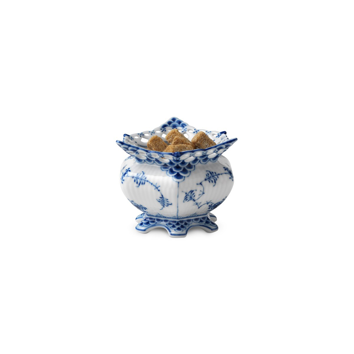 Royal Copenhagen, Blue Fluted Full Lace Sugar Bowl 4.75oz.