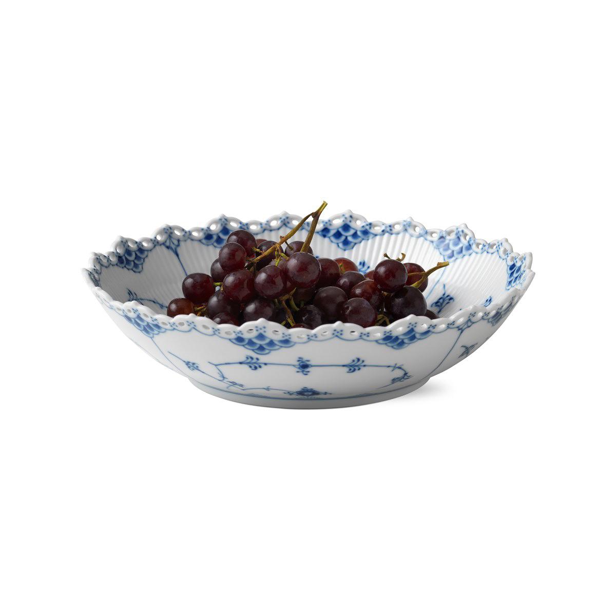 "Royal Copenhagen, Blue Fluted Full Lace Serving Bowl 11"""