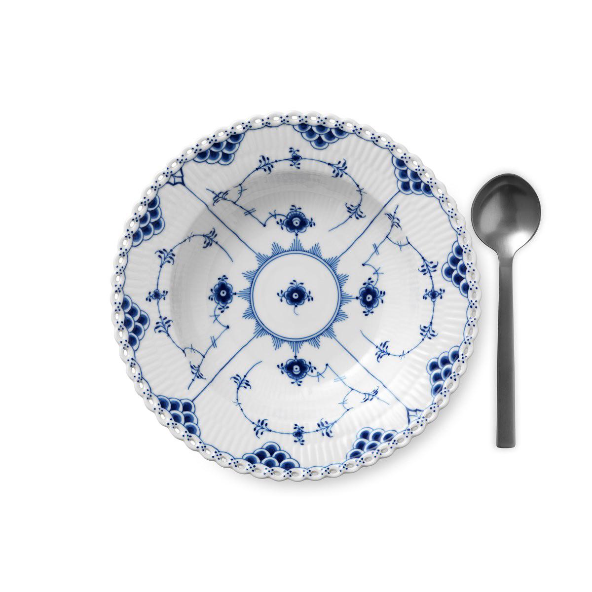 """Royal Copenhagen, Blue Fluted Full Lace Rim Soup Bowl 9"""""""