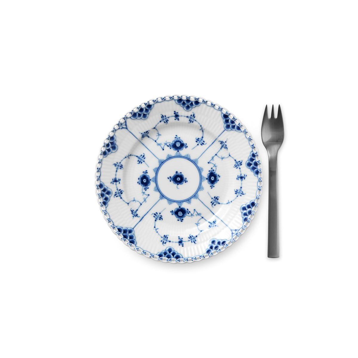 Royal Copenhagen, Blue Fluted Full Lace Bread and Butter Plate 6.75""
