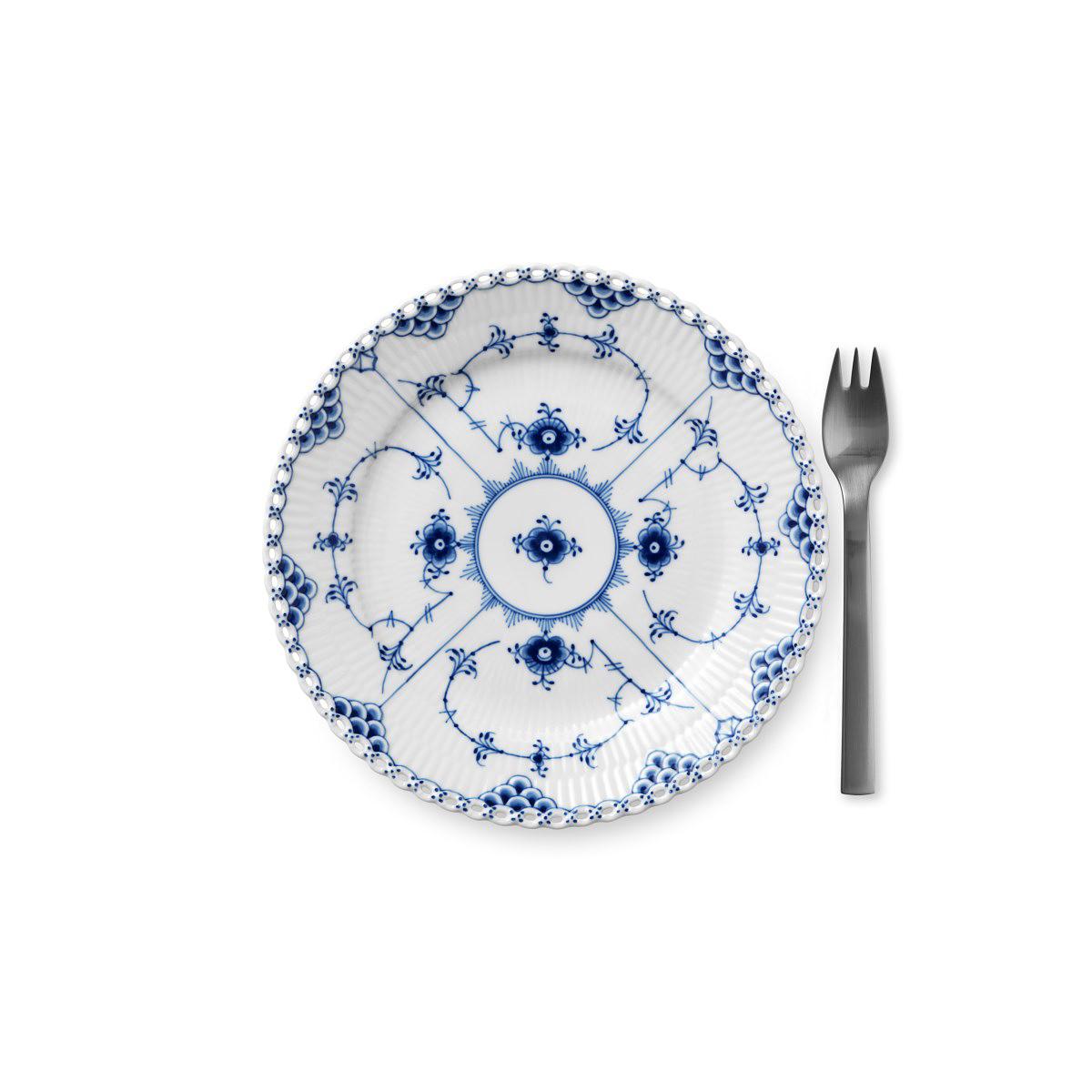 "Royal Copenhagen, Blue Fluted Full Lace Dessert Plate 7.5"""