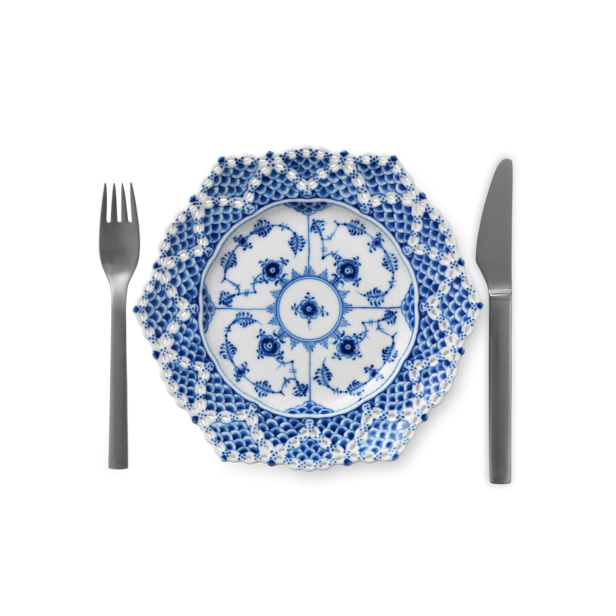 """Royal Copenhagen, Blue Fluted Full Lace Cake Plate 8.25"""" W/ Double Lace Border"""