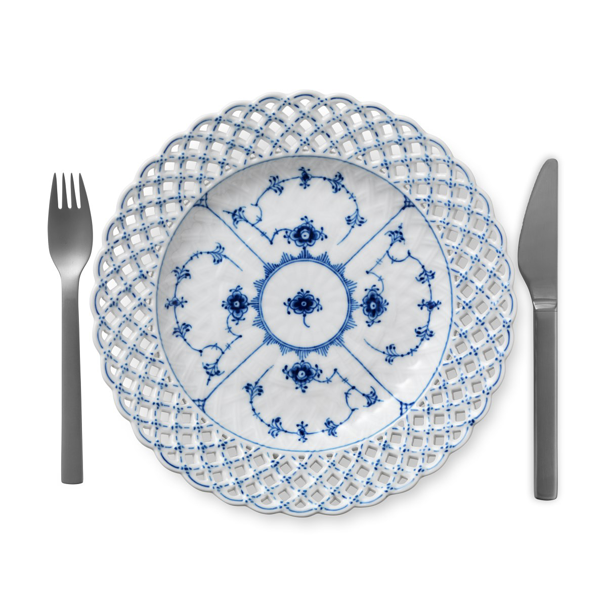 """Royal Copenhagen, Blue Fluted Full Lace Cake Plate 9.75"""" With Open Border"""