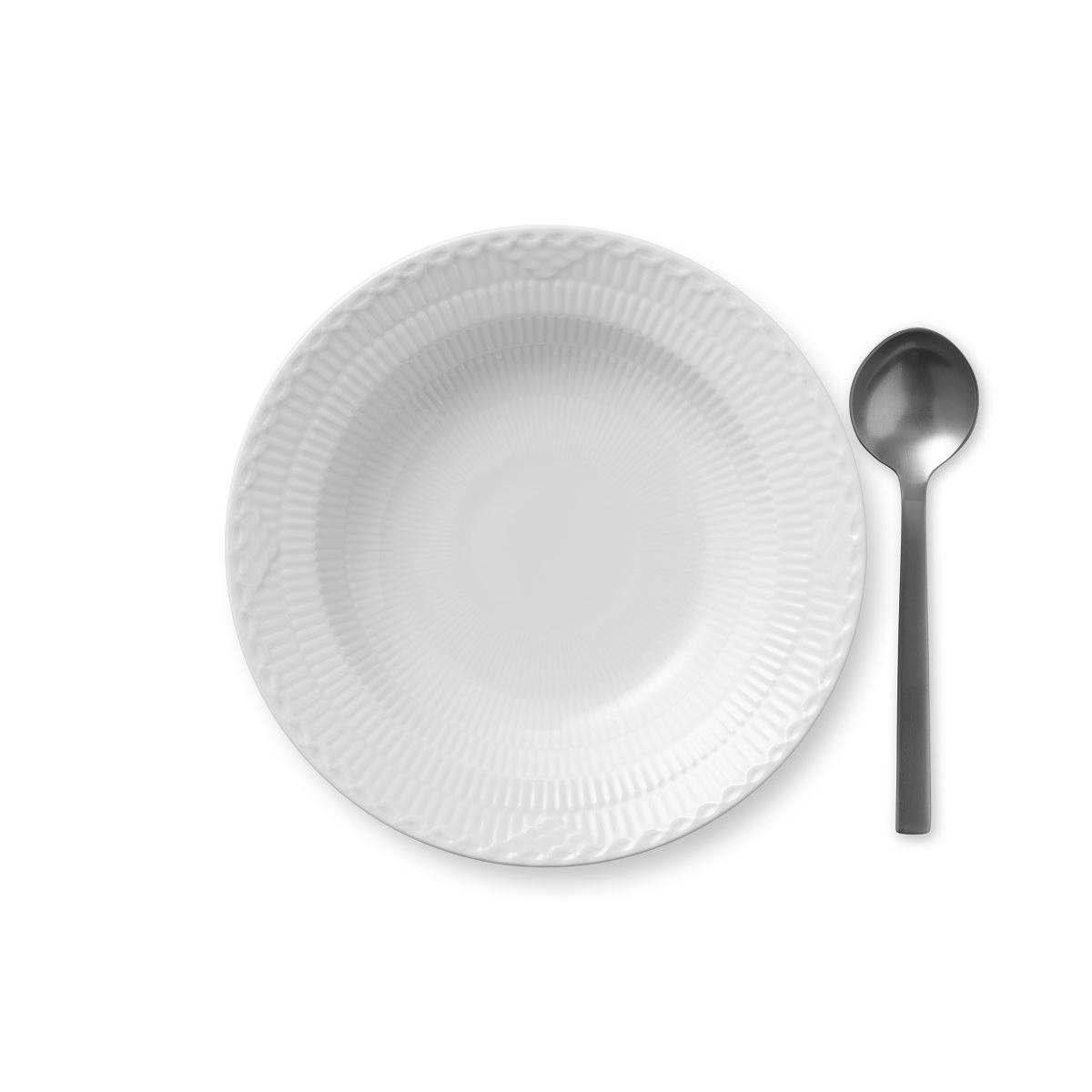 """Royal Copenhagen, White Fluted Half Lace Rim Soup Bowl 8.25"""""""