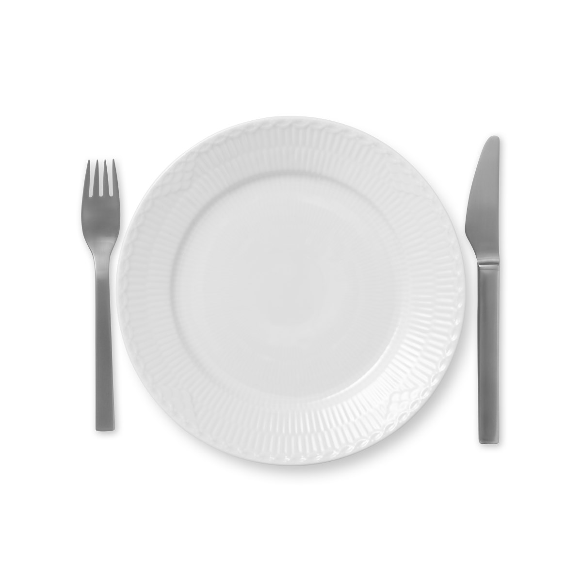 "Royal Copenhagen, White Fluted Half Lace Salad Plate 8.75"""