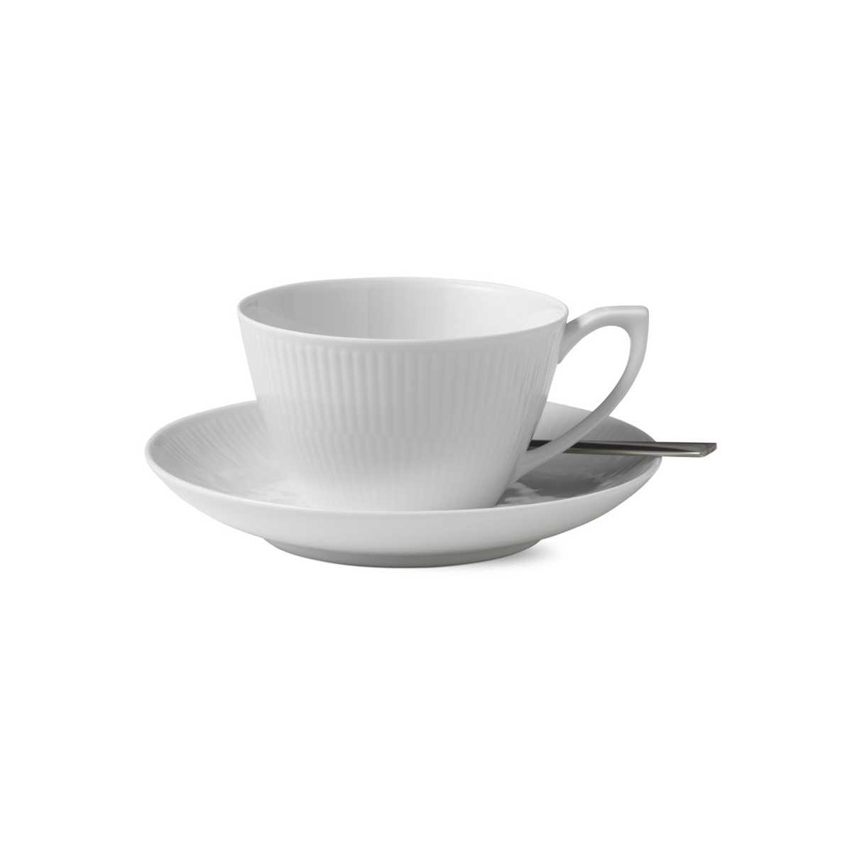 Royal Copenhagen, White Fluted Tea Cup and Saucer 9.25oz.
